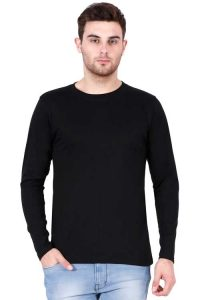 Men's Round Neck Full Sleeve Black Front Side