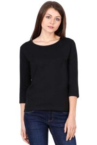 Women's Round Neck Full Sleeve Black Front Side