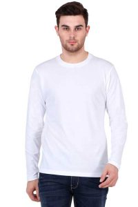 Men's Round Neck Full Sleeve White Front Side