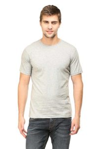Men's Round Neck Half Sleeve Bottle Grey Front Side