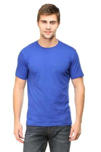 Men's Round Neck Half Sleeve Bottle Royal Blue Front Side