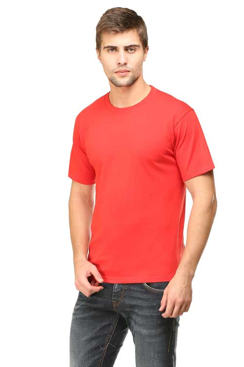 Mens Round Neck Half Sleeve Red front side