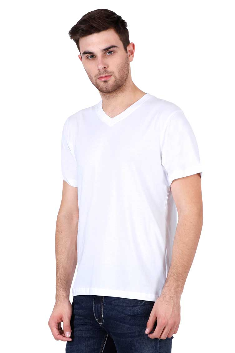 Mens V-neck white Front side