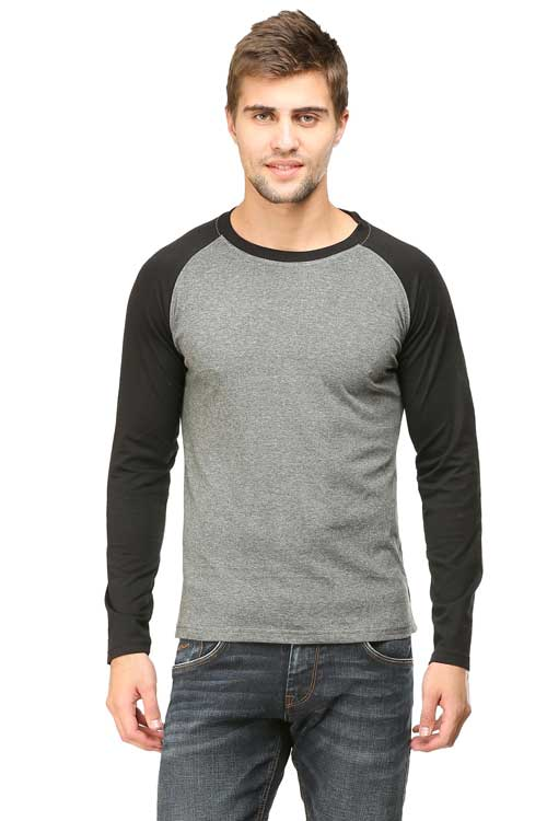 Mens Raglan Black Charcoal Front
